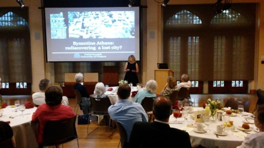 Fotini Kondyli begins a fascinating lecture on Byzantine Athens, at the spring banquet in memory of Gertrude Howland, May 18, 2017